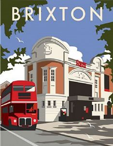 Brixton Ritzy Cinema (by Dave Thompson) fridge magnet   (se)